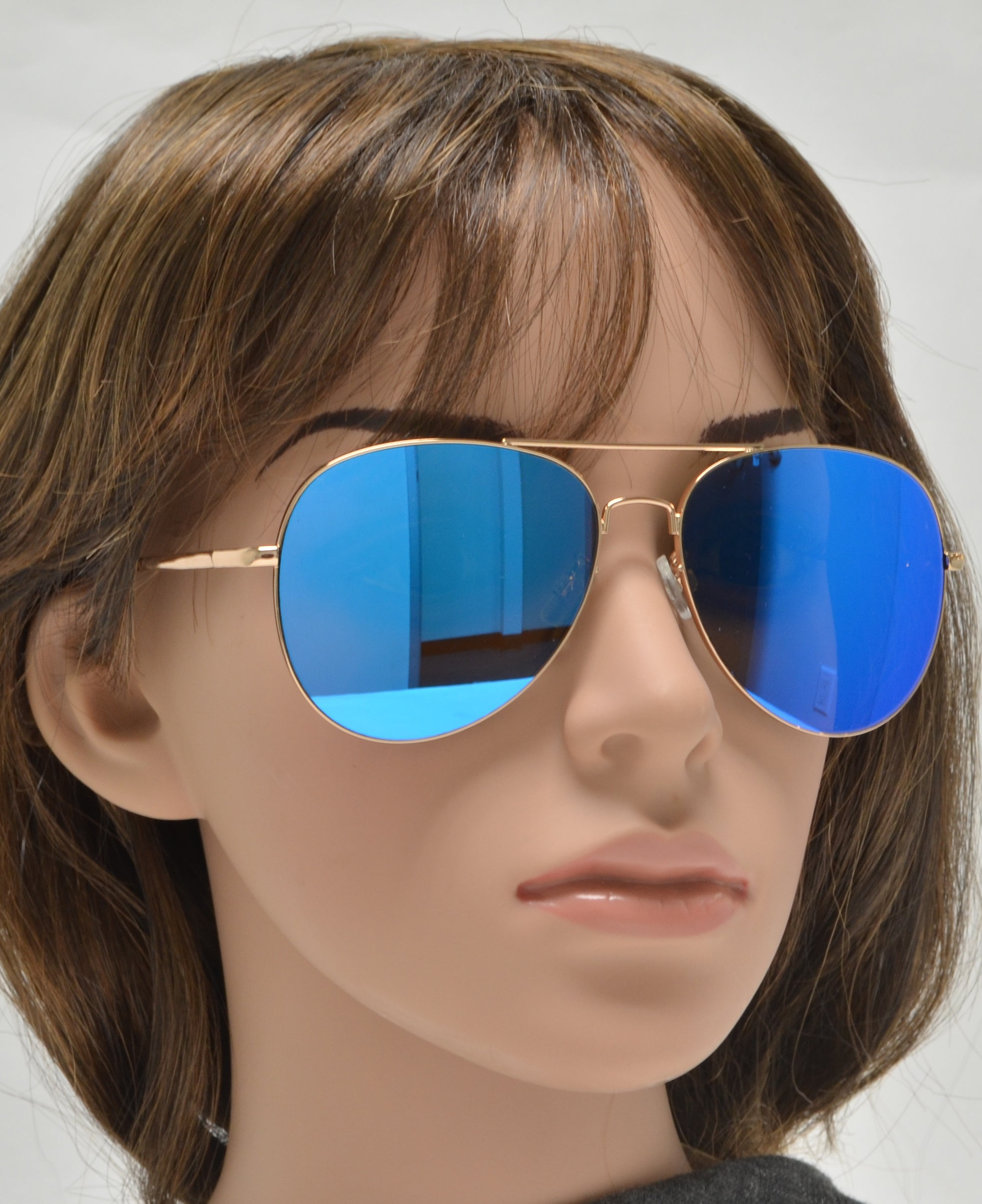 FC 6516 Blue RV - Oval Shaped Thin Stainless Frame Sunglasses with Blue Mirror Lens