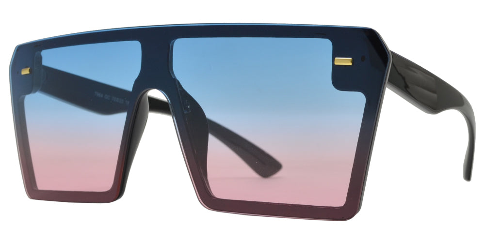 7964 OC - Oversized Sunglasses with Flat Top and Ocean Flat Lens