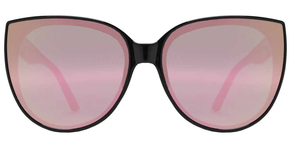 8782 Pink RVC - Women's Oversize Cat Eye Sunglasses with Pink Mirror Lens