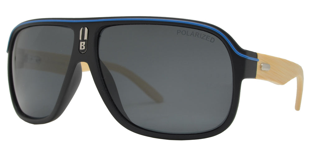 PL 7981 - Polarized Retro Aviator Flat Top Bamboo Sunglasses