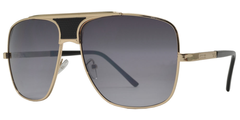 8798 - Large Square Oval Shaped Sunglasses with Brow Bar