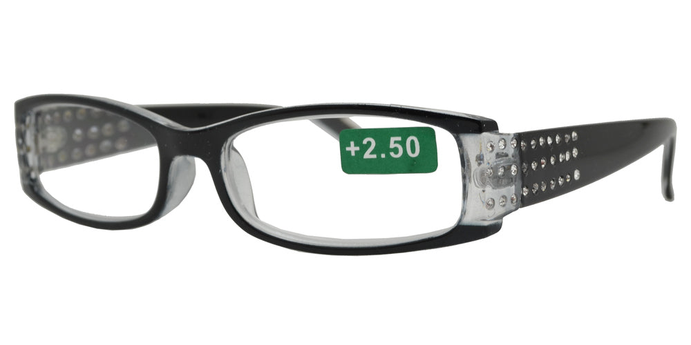 Wholesale - RS 1179 - Rectangular Frame with Rhinestones Plastic Reading Glasses - Dynasol Eyewear