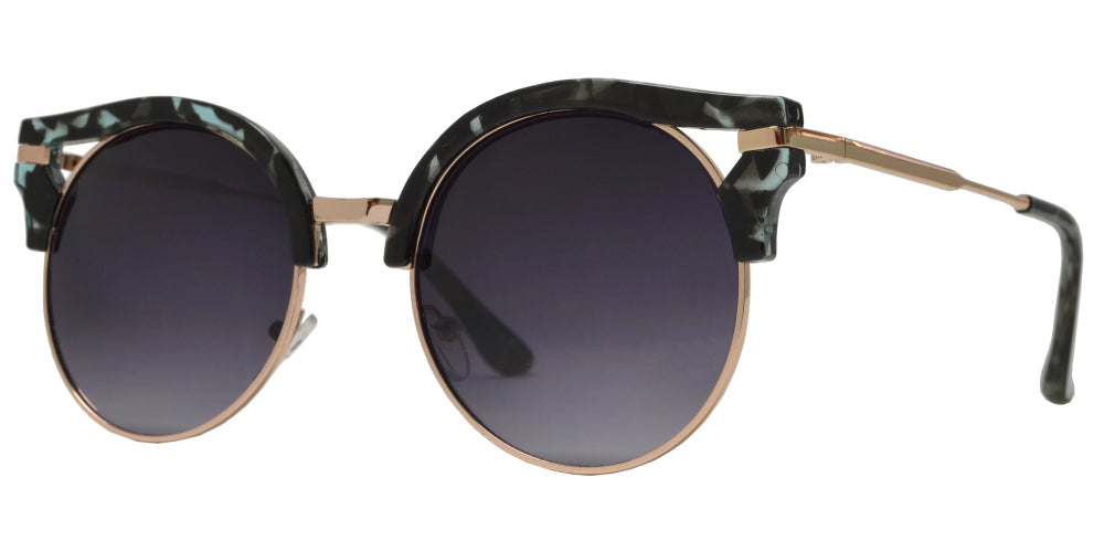 7914 - Women's Round Horn Rimmed Cat Eye Sunglasses