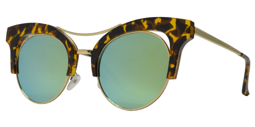 7918 RVC - Horn Rimmed Cat Eye Half Frame Sunglasses with Round Color Mirror Flat Lens