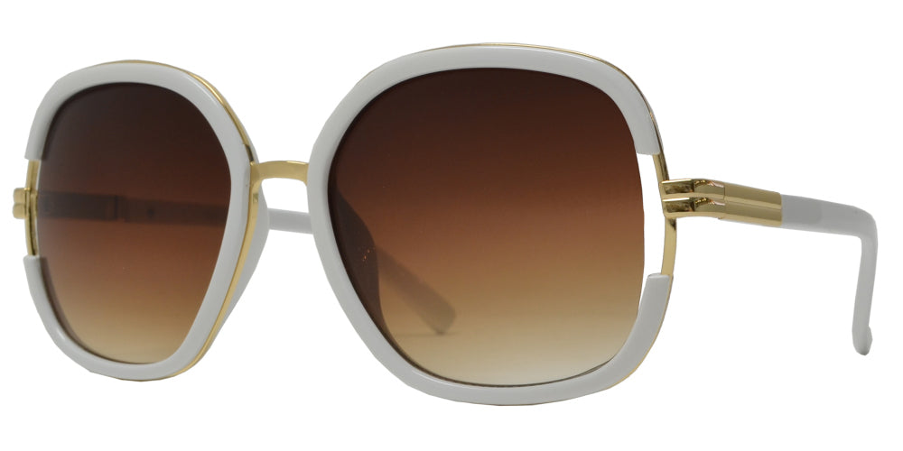 7926 - Women's Modern Square Metal Sunglasses with Plastic Border