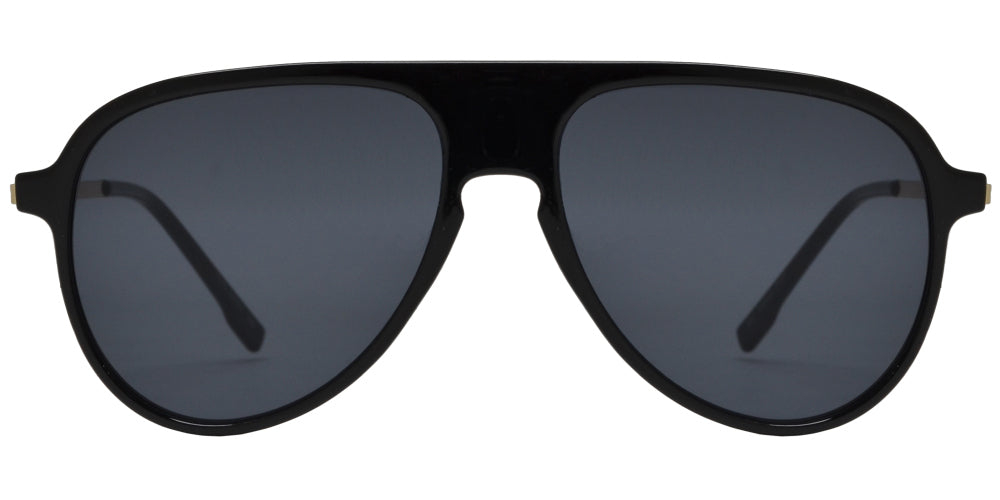 7975 Black - Black Plastic Oval Shaped Flat Top and Lens Sunglasses