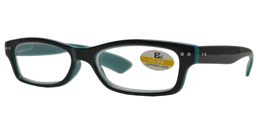 RS 1117 +4.00 - Small Classic Rectangular Two Toned Plastic Reading Glasses