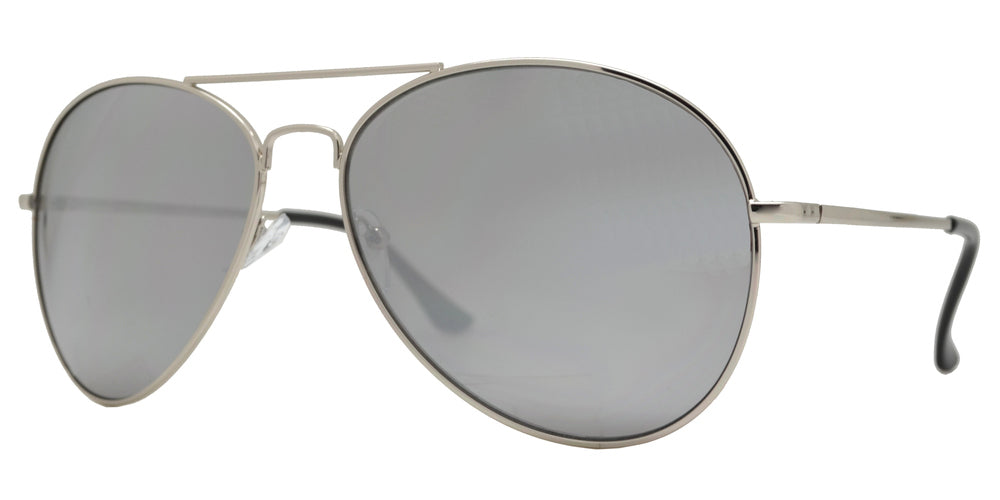 Wholesale - 5145 Chrome - Metal Oval Shaped Sunglasses with Mirror Lens - Dynasol Eyewear