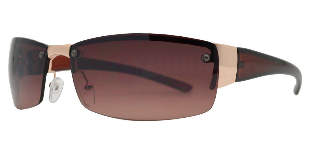 X 11255 - Rimless Rectangular Wrap Around Metal Sunglasses