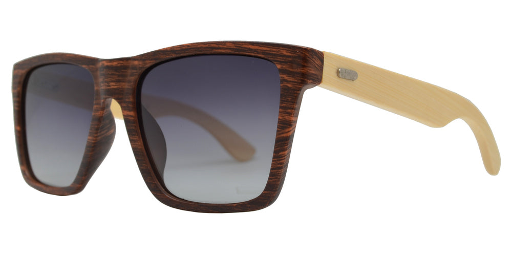 PL 2016 - Polarized Bamboo Square Horn Rimmed Sunglasses