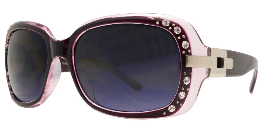 Dynasol Eyewear - Wholesale Sunglasses - 7585 BX - Womens Fashion Sunglasses with Metal Accent and Rhinestones - sunglasses