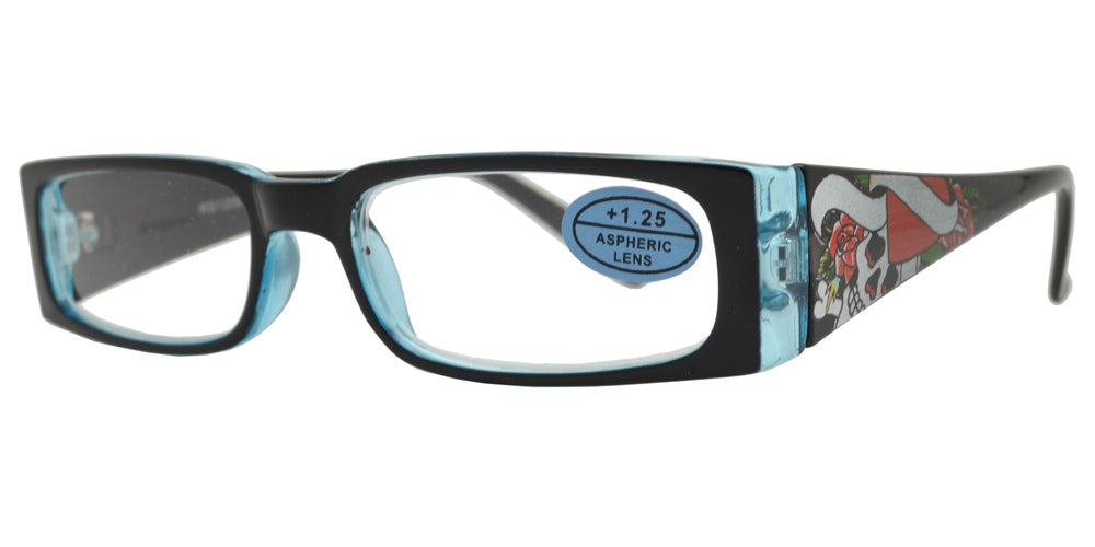 RS 1209 - Rectangular Decorative Thick Temple Plastic Reading Glasses