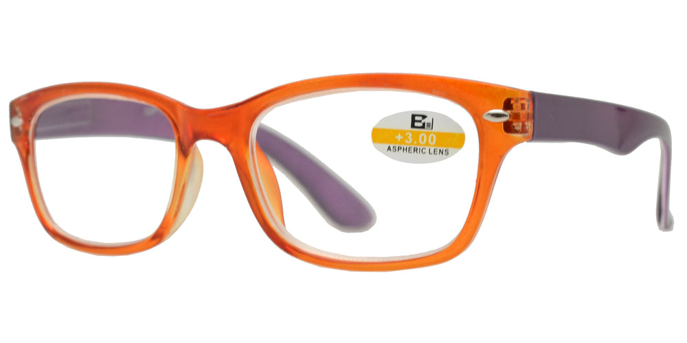 Wholesale - RS 1129- Classic Horn Rimmed Two Tone Plastic Reading Glasses - Dynasol Eyewear