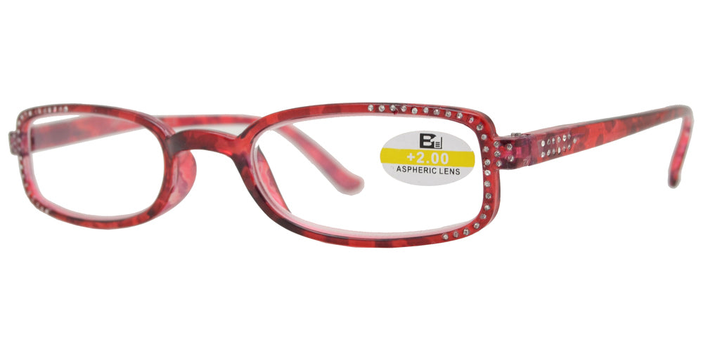 Wholesale - RS 1128 - Small Rectangular Marble Finish with Rhinestones with Plastic Reading Glasses - Dynasol Eyewear