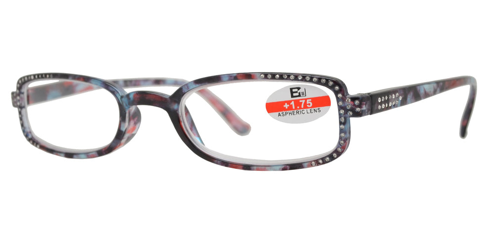 RS 1128 - Small Rectangular Marble Finish with Rhinestones with Plastic Reading Glasses
