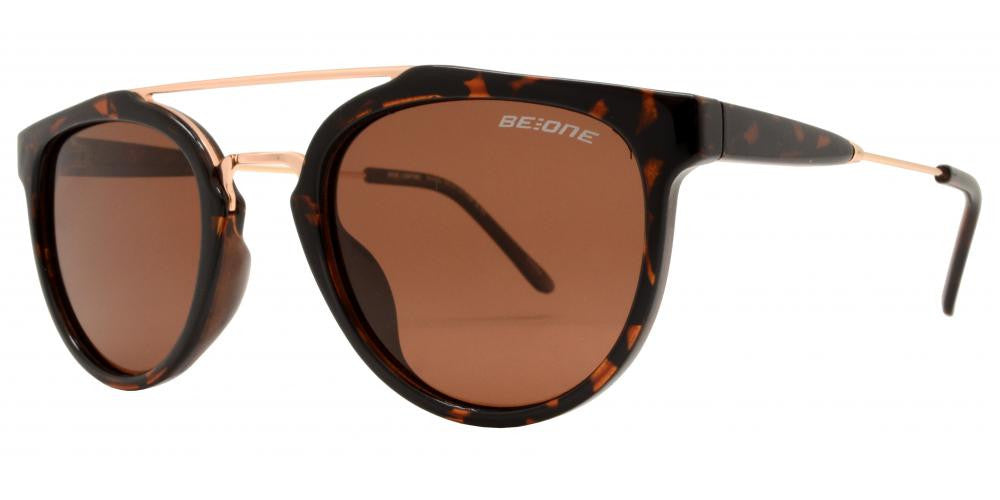 Dynasol Eyewear - Wholesale Sunglasses - PL Ryan - Polarized Round Horn Rimmed with Brow Bar Plastic Sunglasses - sunglasses