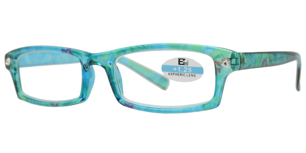 Wholesale - RS 1126 - Rectangular Horn RImmed Marble Finish with Rhinestones Plastic Reading glasses - Dynasol Eyewear