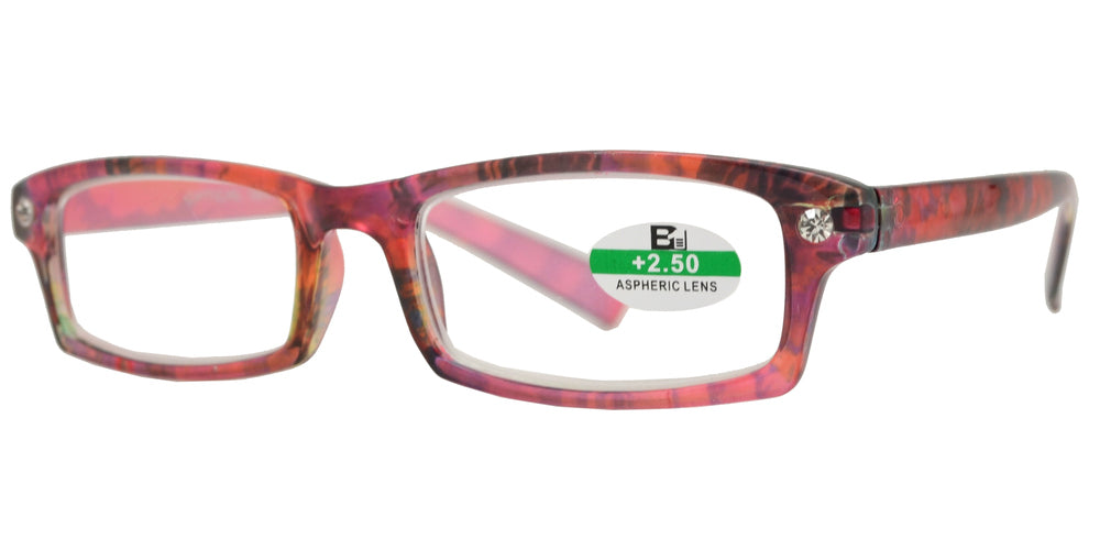 RS 1126 - Rectangular Horn RImmed Marble Finish with Rhinestones Plastic Reading glasses