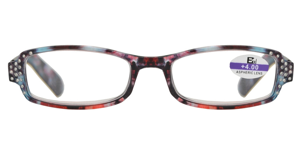 Wholesale - RS 1127 - Small Rectangular Marble Finish with Rhinestones Plastic Reading Glasses - Dynasol Eyewear