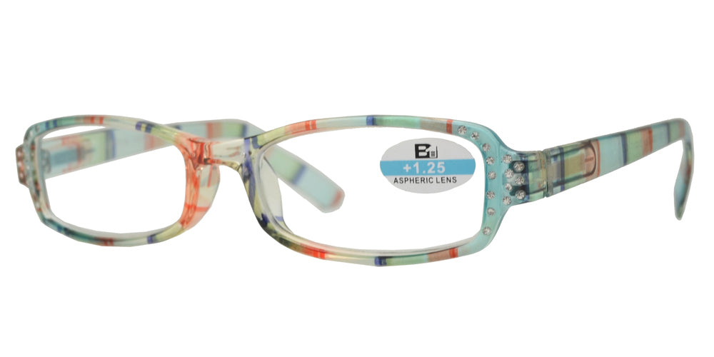 RS 1127 - Small Rectangular Marble Finish with Rhinestones Plastic Reading Glasses