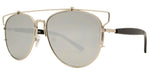 Wholesale - 8728 Metal Crossbar - Metal Crossbar Sunglasses with Round Flat Lens - Dynasol Eyewear