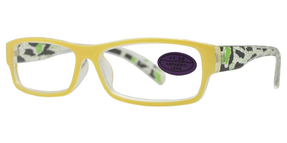 Wholesale - RS 1463 - Rectangular Horn Rimmed Two Tone Plastic Reading Glasses - Dynasol Eyewear