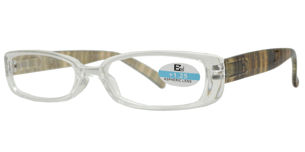 Wholesale - RS 1122 - Rectangular Clear Frame Design Temple Plastic Reading Glasses - Dynasol Eyewear