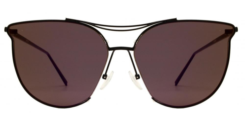 65f2cce8d ... Dynasol Eyewear - Wholesale Sunglasses - 8557 RVC - Horn Rimmed Color  Mirror Flat Lens Sunglasses