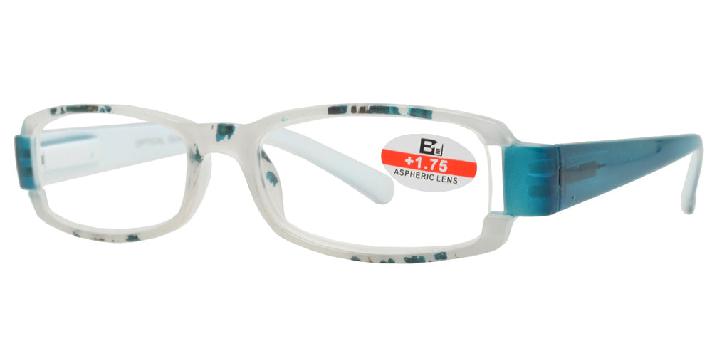 RS 1120 - Rectangular Two Tone Plastic Reading Glasses
