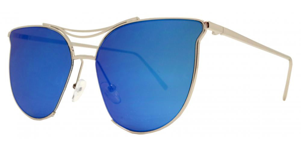 Dynasol Eyewear - Wholesale Sunglasses - 8557 RVC - Horn Rimmed Color Mirror Flat Lens Sunglasses with Brow Bar - sunglasses