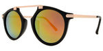 Dynasol Eyewear - Wholesale Sunglasses - 8555 - Plastic Retro Horn Rimmed no Bridge Sunglasses with Brow Bar - sunglasses