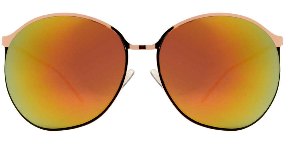 Dynasol Eyewear - Wholesale Sunglasses - 8546 - Large Plastic Round Sunglasses with Color Mirror Lens - sunglasses