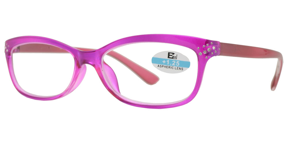 RS 1121 - Small Cat Eye Two Tone Plastic Reading Glasses