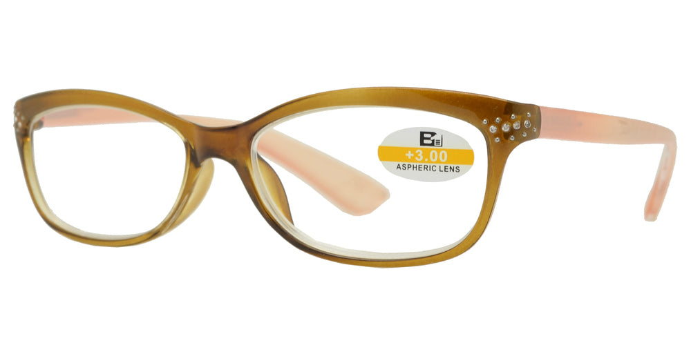 Wholesale - RS 1121 - Small Cat Eye Two Tone Plastic Reading Glasses - Dynasol Eyewear