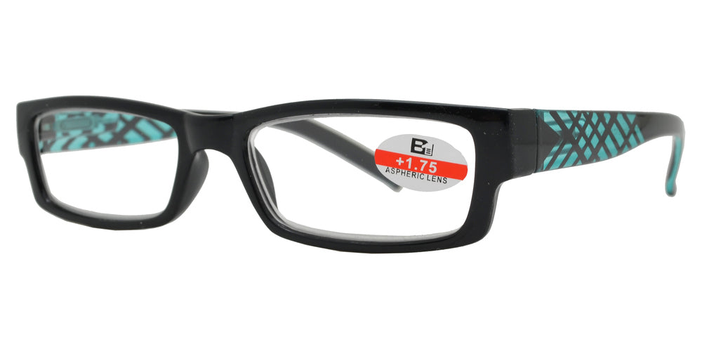 RS 1114 - Rectangular Horn Rimmed with Stripes Plastic Reading Glasses