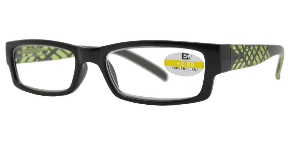 Wholesale - RS 1114 - Rectangular Horn Rimmed with Stripes Plastic Reading Glasses - Dynasol Eyewear