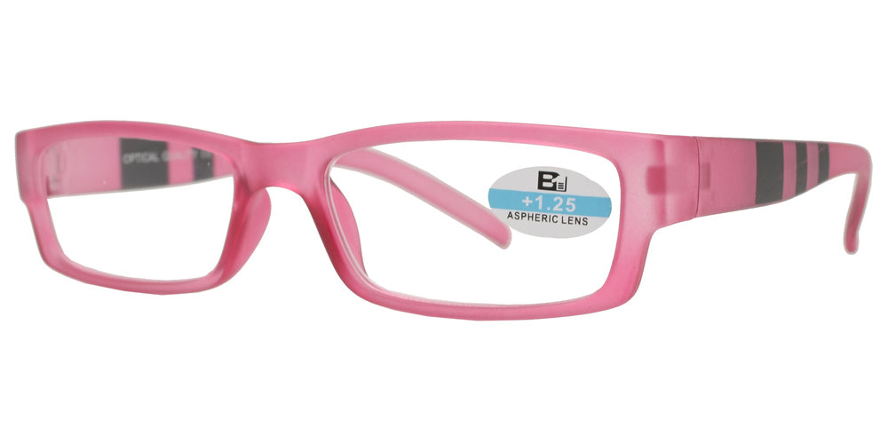 Wholesale - RS 1111 - Rectangular Horn Rimmed with Stripes on Temple Plastic Reading Glasses - Dynasol Eyewear