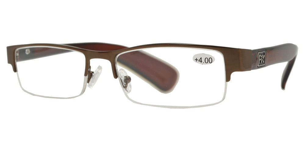 Wholesale - RS 1266 - Horn Rimmed Half Frame Metal Reading Glasses - Dynasol Eyewear
