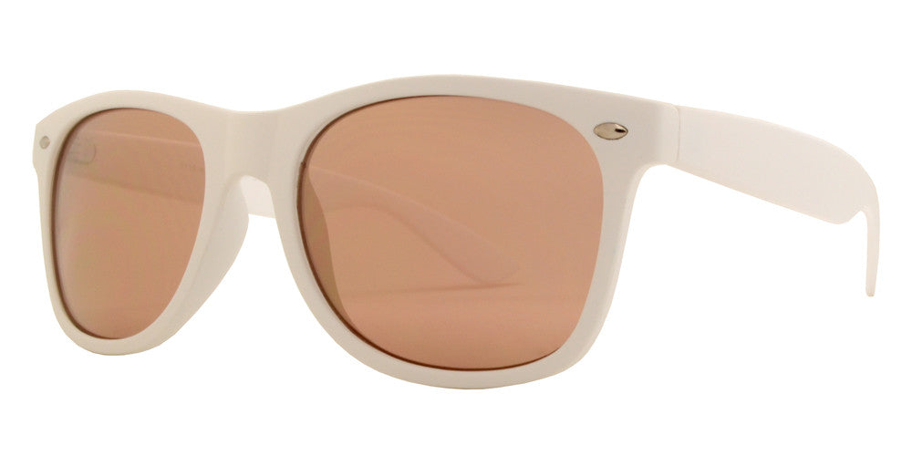 Wholesale - 7110 White Spectrum - Classic Horn Rimmed Color Mirror White Soft Rubber Finish Plastic Sunglasses - Dynasol Eyewear