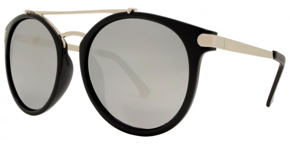 Wholesale - 8554 - Round Horn Rimmed Sunglasses with Metal Brow Bar - Dynasol Eyewear