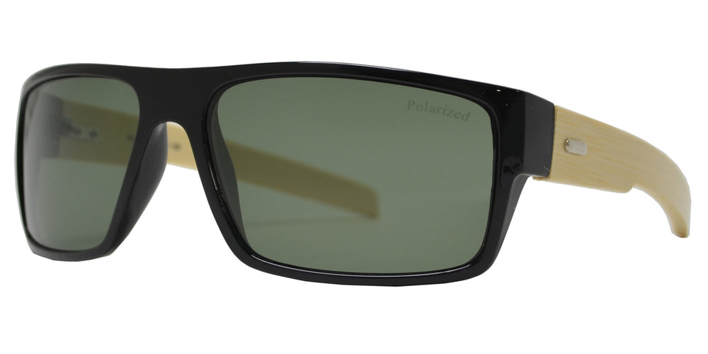 Wholesale - PL 7993 - Bamboo Polarized Sports Rectangular Sunglasses - Dynasol Eyewear