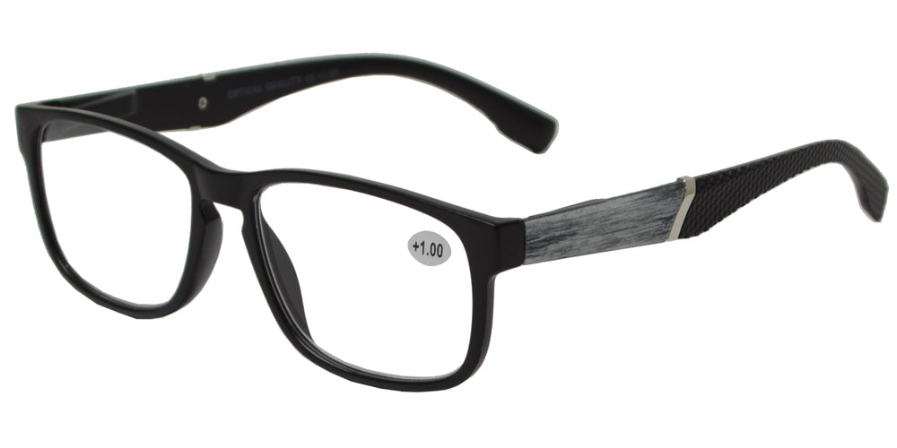 Wholesale - RS 1208 - Plastic Rectangular Reading Glasses with Spring Hinge - Dynasol Eyewear