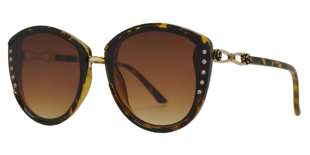 Wholesale - 7987 BX - Women's Cat Eye Sunglasses with Rhinestones and Rose Temple - Dynasol Eyewear