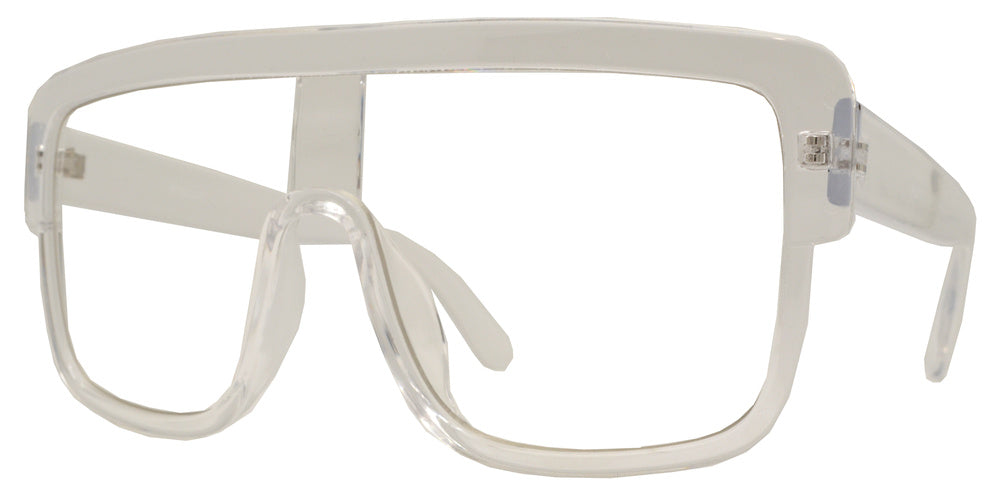 Dynasol Eyewear - Wholesale Sunglasses - 8760 Clear - Oversize Plastic Flat Top Sunglasses with One Piece Clear Lens - sunglasses
