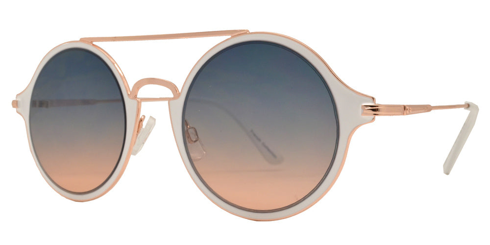 Dynasol Eyewear - Wholesale Sunglasses - FC 6397 - Retro Round Thin Frame with Brow Bar Metal Sunglasses - sunglasses