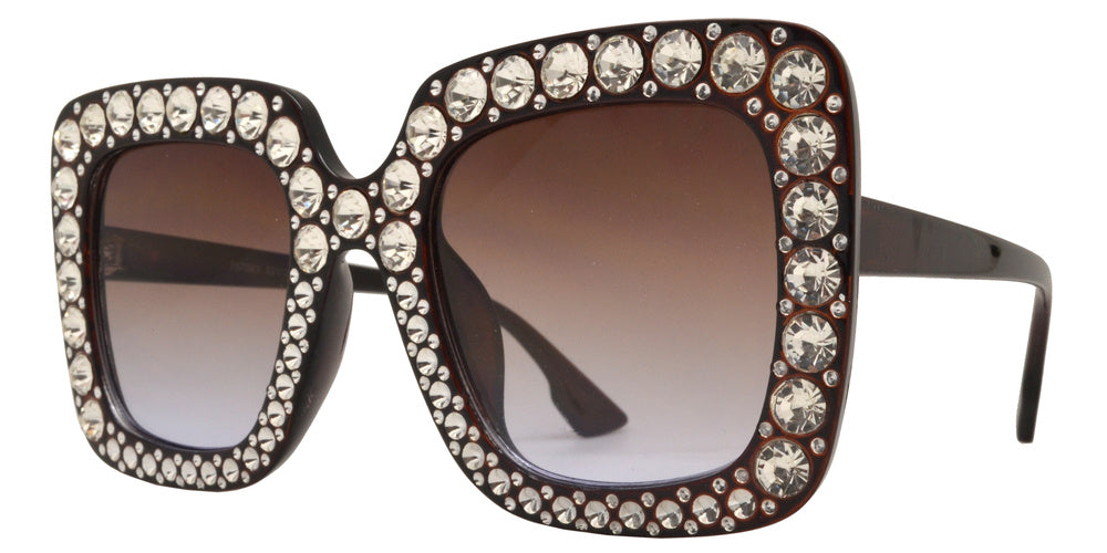 Dynasol Eyewear - Wholesale Sunglasses - 7970 BX - Women's Fashion Square Sunglasses with Rhinestones - sunglasses