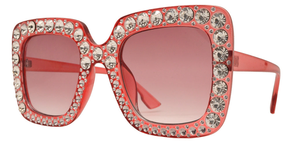 Wholesale - 7970 BX - Women's Fashion Square Sunglasses with Rhinestones - Dynasol Eyewear