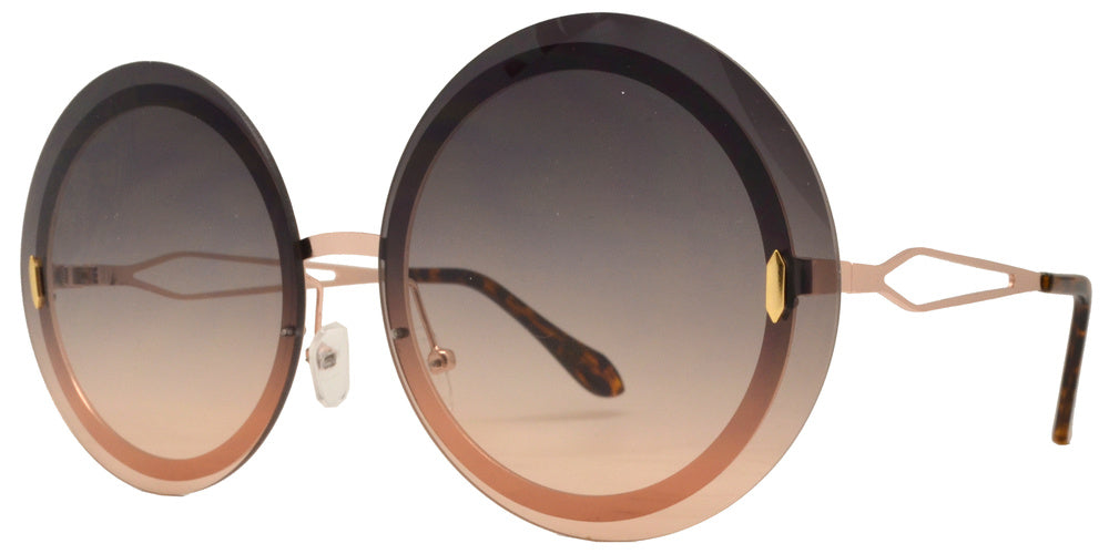 Wholesale - 8752 - Rimless Round Metal Sunglasses - Dynasol Eyewear