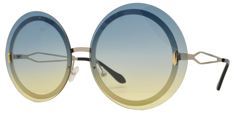 8752 - Rimless Round Metal Sunglasses