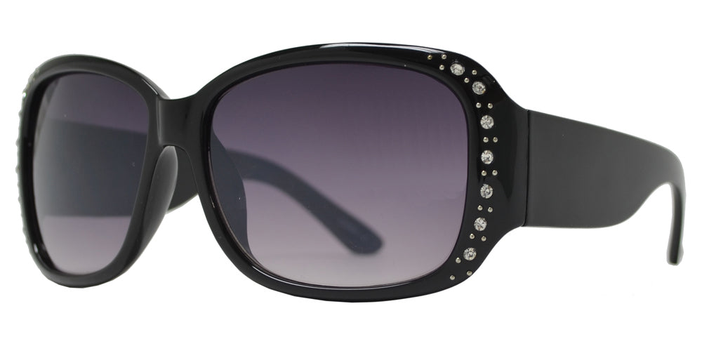 Wholesale - PLD-01 - Rectangular Plastic Sunglasses with Rhinestones - Dynasol Eyewear